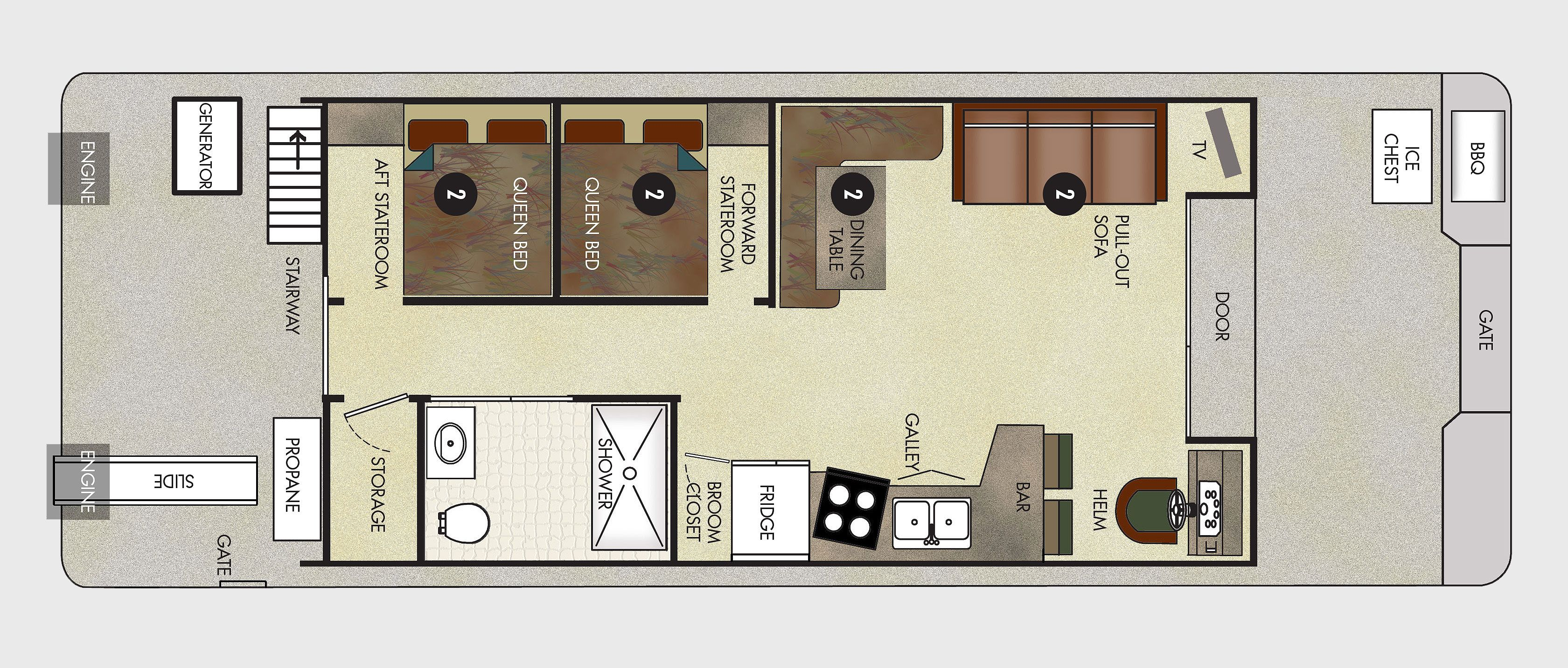 Houseboat Floor Plans 8X25 46 Voyager XL Class Houseboat – Houseboat Floor Plans