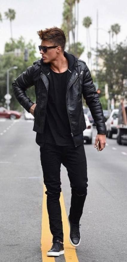 New Sneakers Outfit Men Casual Leather Jackets Ideas #manoutfit