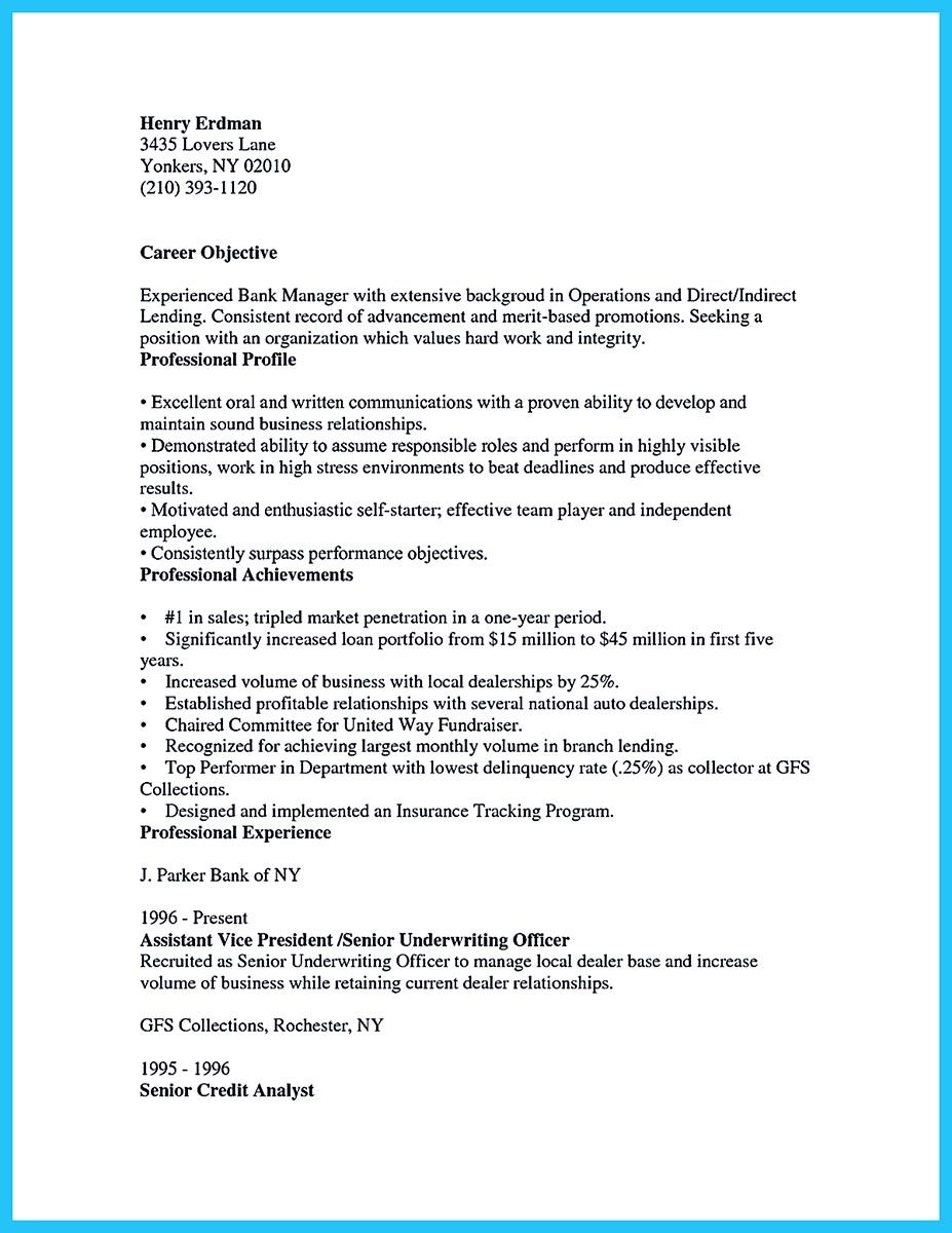 suppose you are confused to arrange a bank manager resume