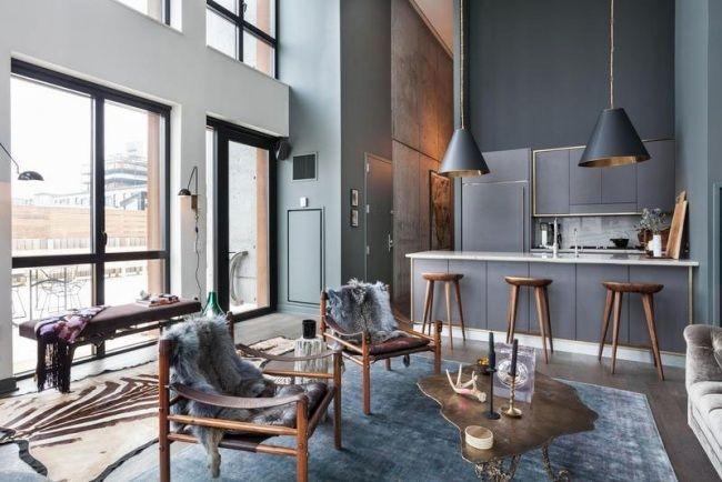 maisonette wohnung brooklyn holzmöbel rauchgraue wandfarbe pelze - industrielle stil wohnung