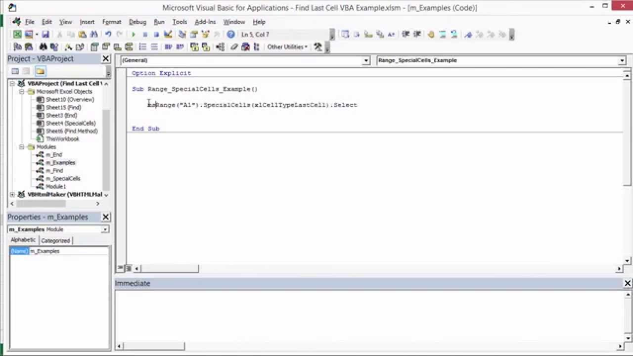 Find the Last Row, Column, or Cell in Excel VBA with the