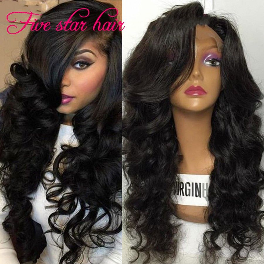 Hot sale  density Full Lace Wig Glueless with side part Bangs