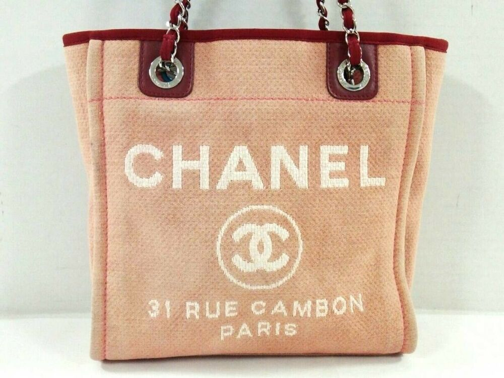5e513f400609 CHANEL Deauville Line A66939 Pink Red White Canvas Leather Chain Tote Bag  Used #Chanel #HandBag