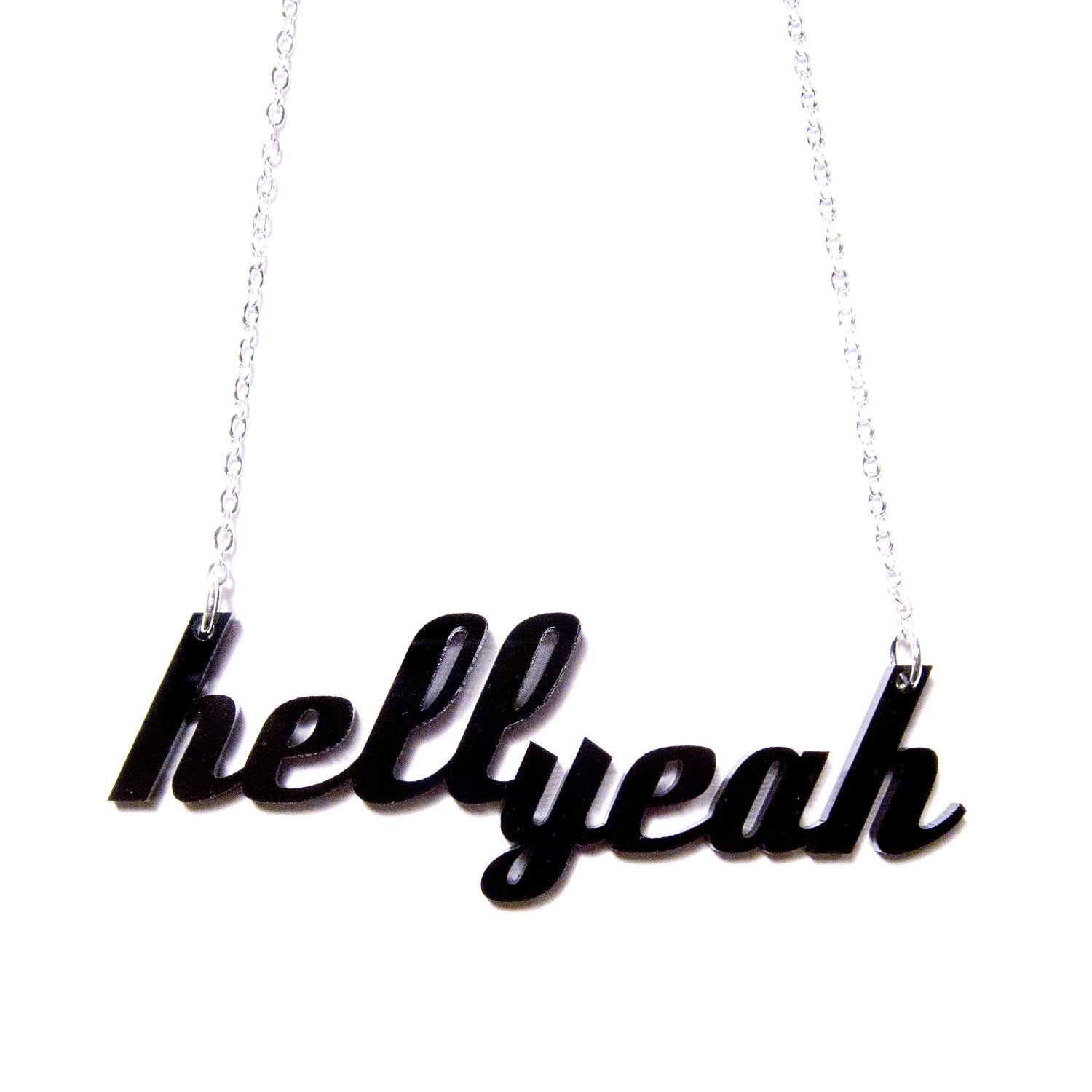 hellyeah acrylic necklace by plastique on Etsy, $22.00