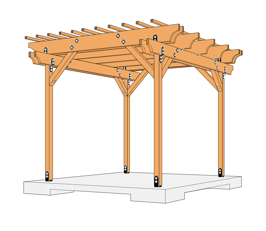 Free 10x10 Pergola Plans Featuring Simpson Strong Tie S Outdoor