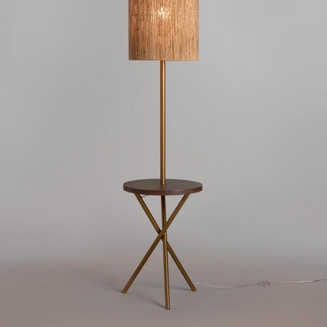 Brass And Walnut Wood Tripod Floor Lamp Base Lamp Shade Sold