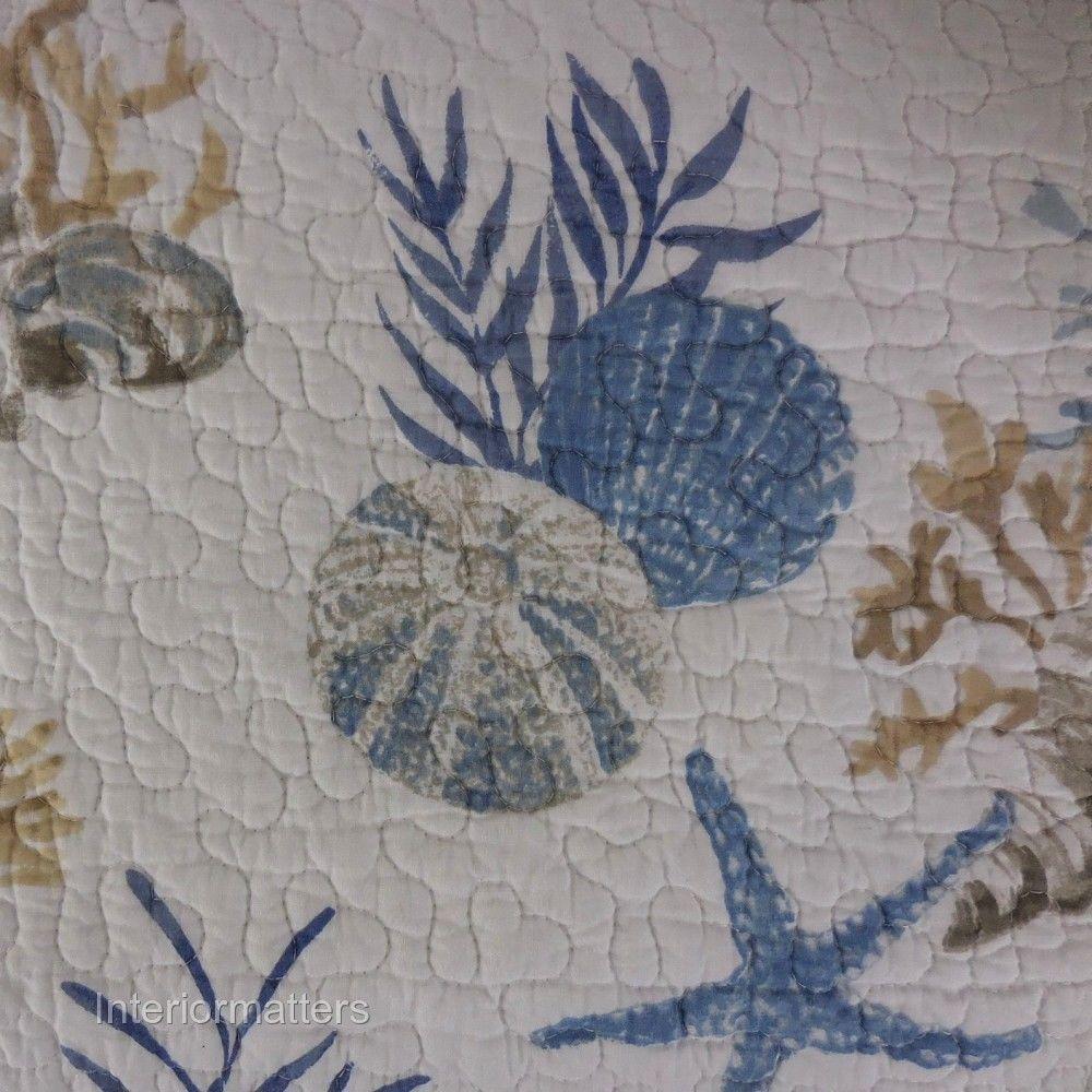 Details About Sigrid Olsen Blue 3pc Queen Quilt Set Coral