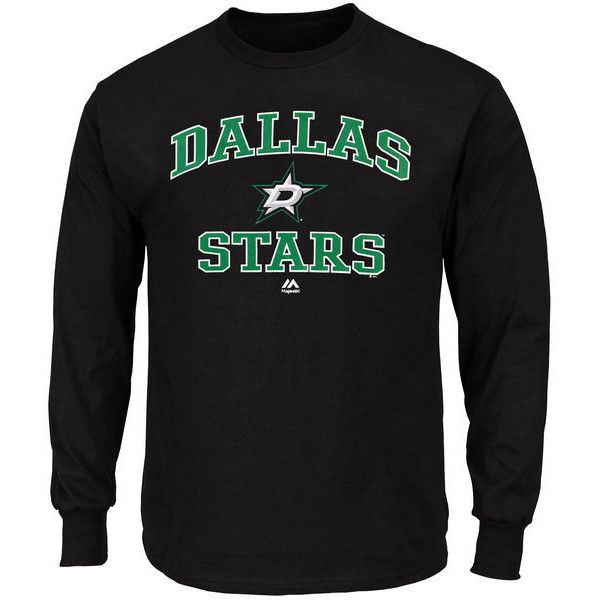 8ffefb393 Men s Dallas Stars Majestic Black Heart and Soul Long Sleeve T-Shirt ❤  liked on Polyvore featuring men s fashion