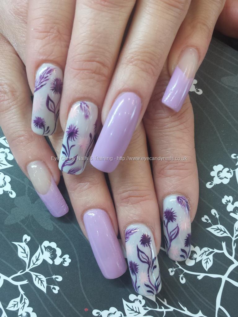 uñas lila y blanco diseño facil | Uñas con diseños | Pinterest ...
