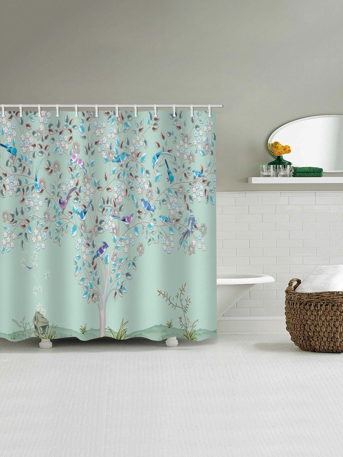 Floral Tree Birds Print Waterproof Shower Curtain