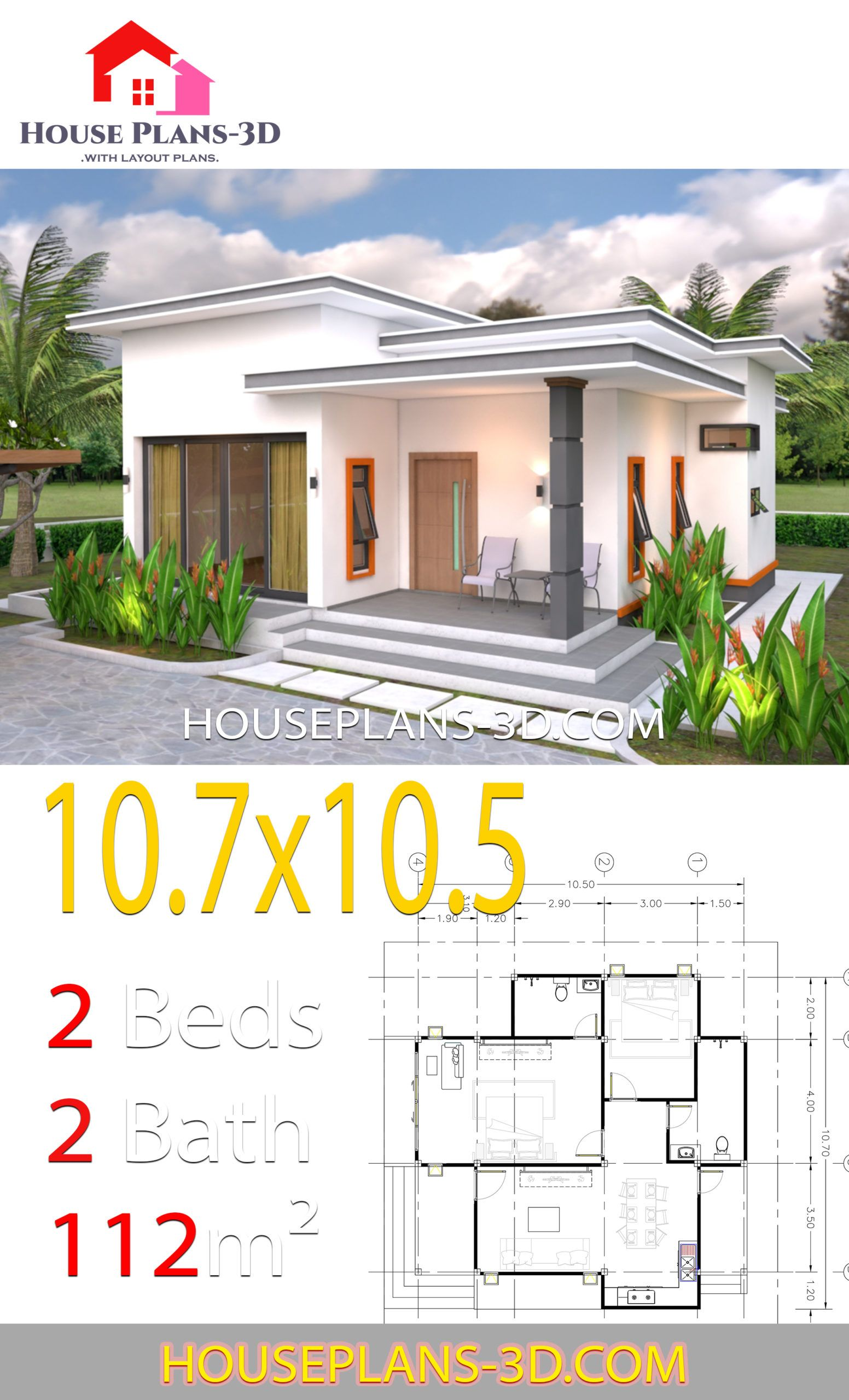 House Plans 10 7x10 5 With 2 Bedrooms Flat Roof House Plans 3d In 2020 House Plans Flat Roof House Simple House Plans