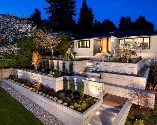 gartenmauer stützmauer-beton errichten-terrassenförmig modern, Garten seite