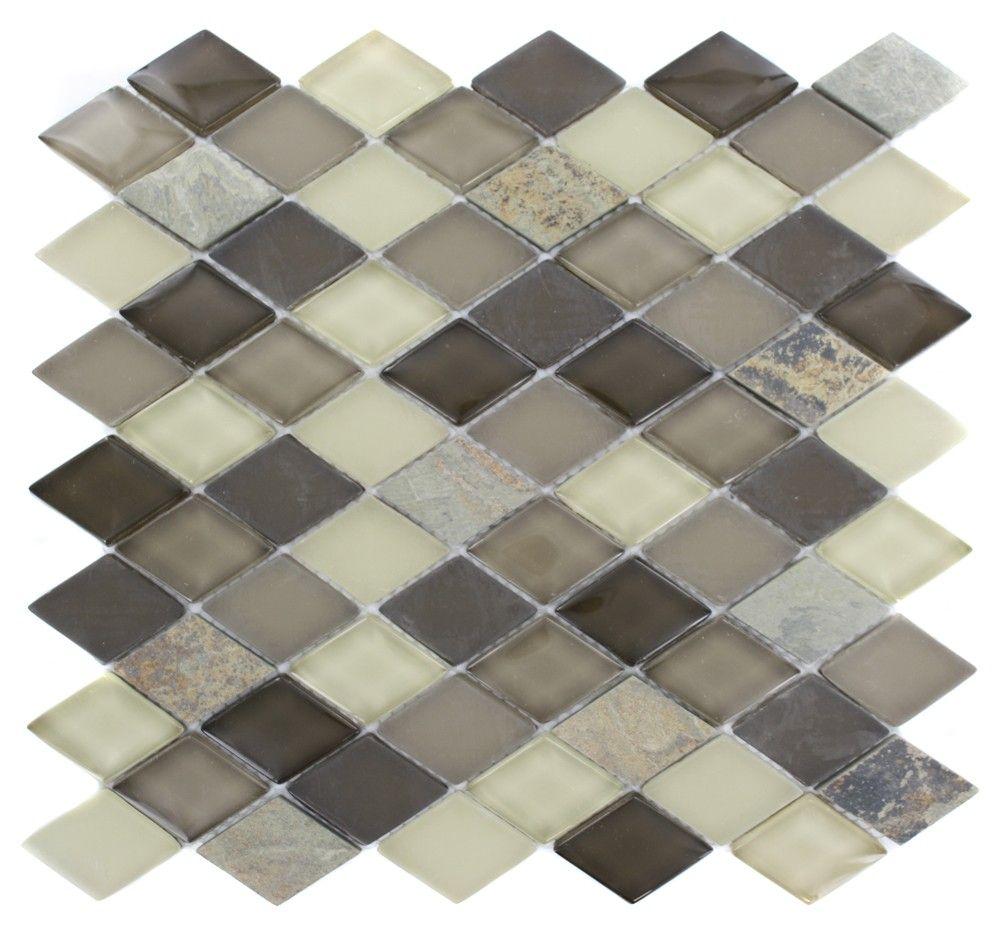 Splashback Tile Tectonic Harmony Green Quartz Slate And: GEOLOGICAL DIAMOND MULTICOLOR SLATE & KHAKI BLEND GLASS