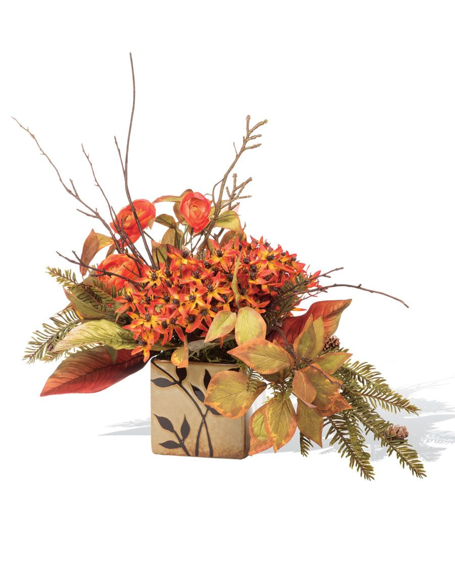 Agapanthus Hemlock Silk Flower Arrangement Crisp Autumn