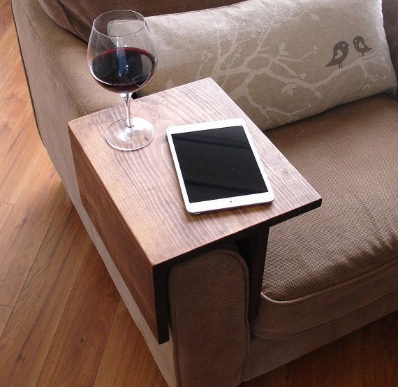 Simply Awesome Couch Sofa Arm Rest Wrap Tray Table For Tablet Food Drinks Cool Couches Couch Tray Narrow Sofa Table