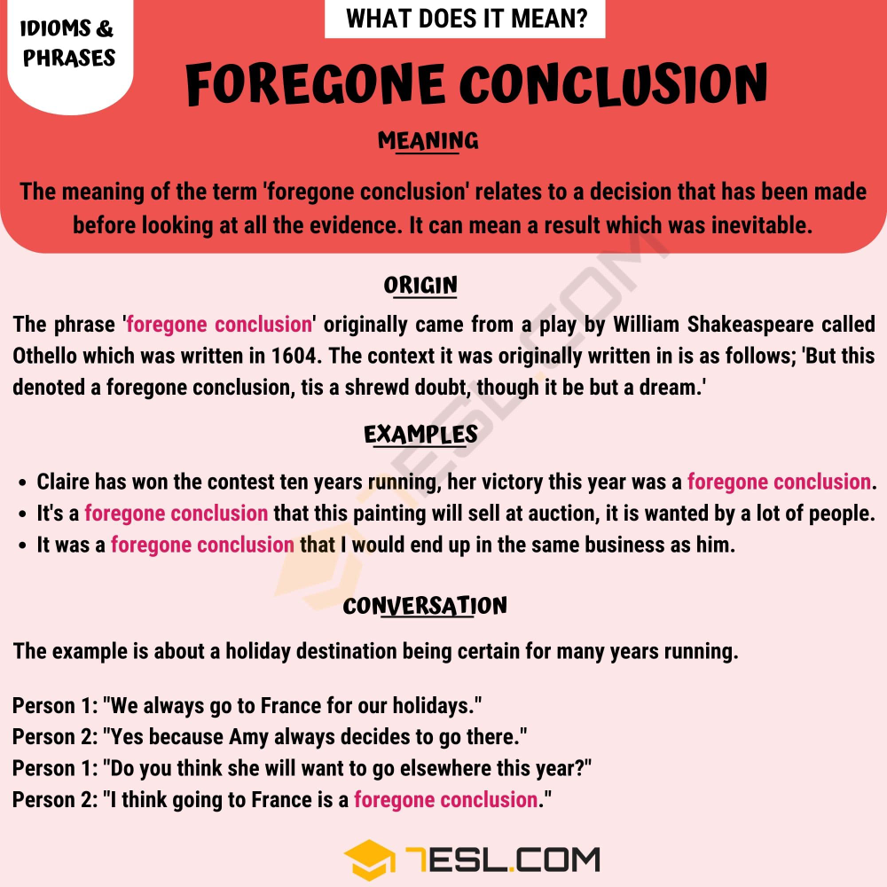 Foregone Conclusion Learn The Definition And Examples Of This Helpful Idiom 7esl Idioms Other Ways To Say Conclusion