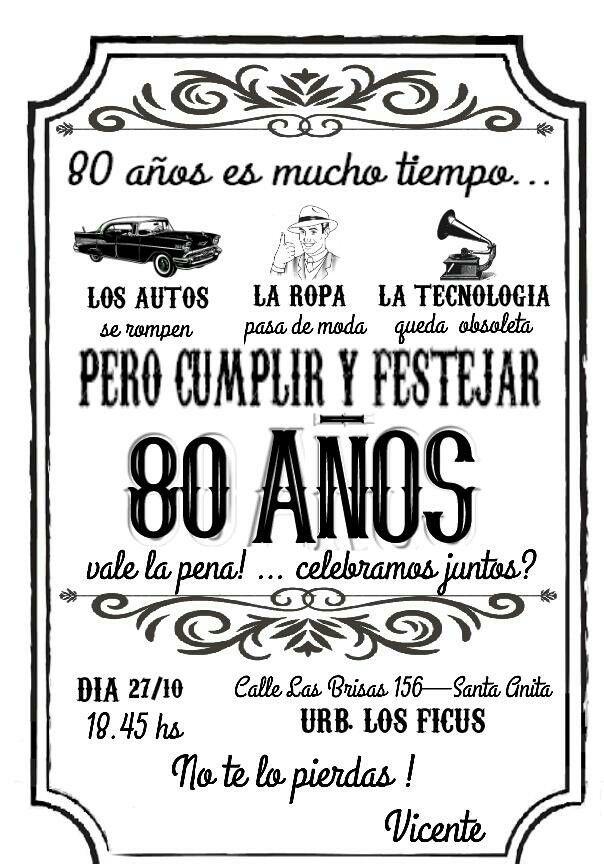 Cumple 80 Invitaciones De Cumple Años Tarjeta De