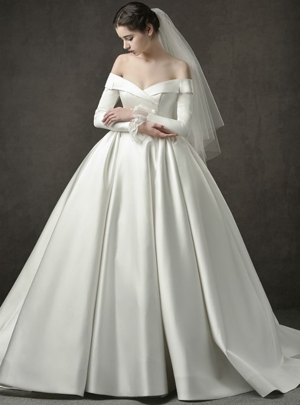 Ivory White Ball Gown Satin Off The Shoulder Long Sleeve Wedding Dress Ball Gowns Wedding Wedding Dresses Satin Ball Gown Wedding Dress