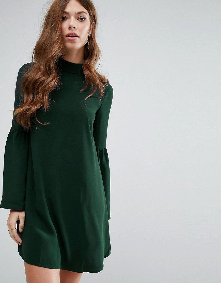 Mango Flute Sleeve Shift Dress - Green. Dress by Mango,