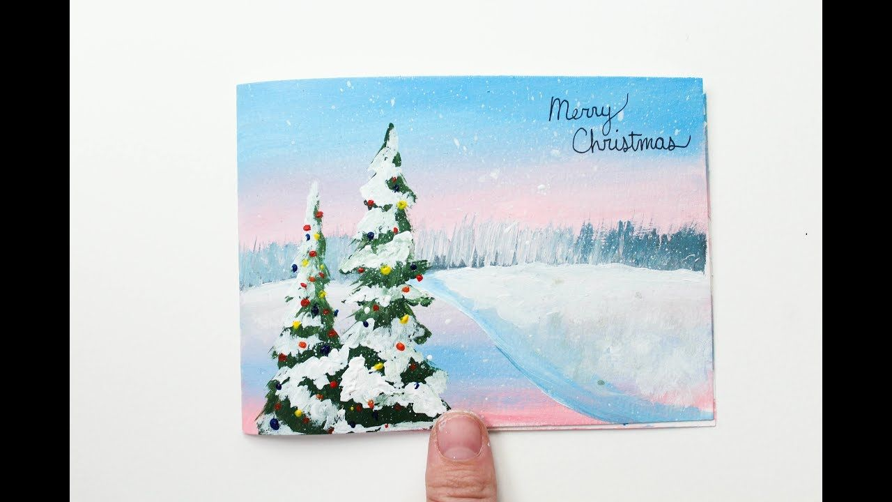 Winter Scene Christmas Card Acrylic Painting Time Lapse Youtube