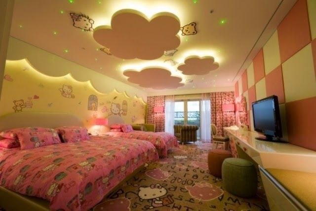 Nice False Ceiling Design For Kids Room, Suspended Clouds With Hidden Ceiling  Lights Part 11