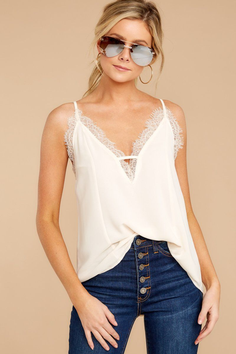 Lace To Meet You Cream Tank Top 1