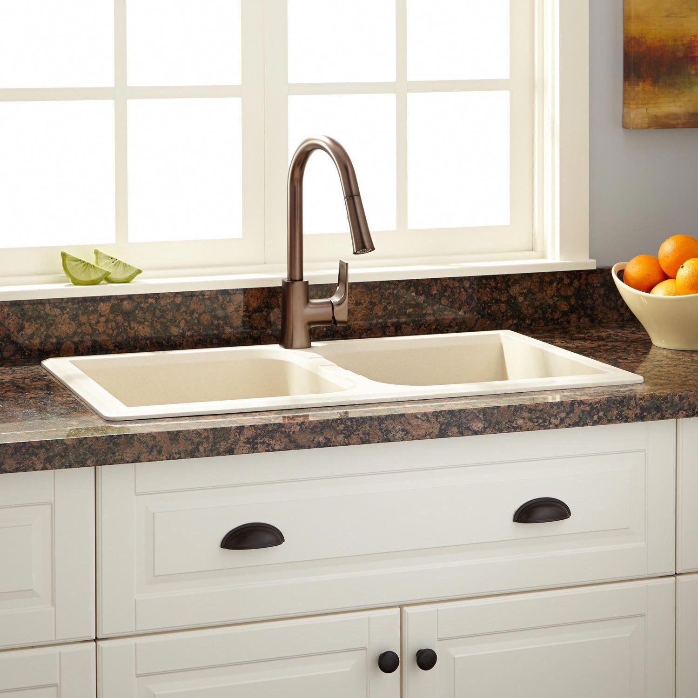 34 evart doublebowl dropin granite composite sink