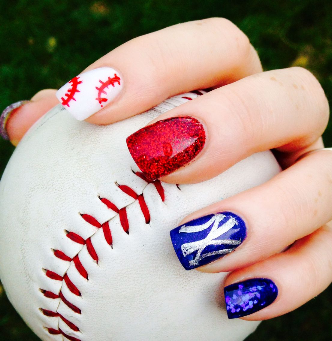 New York Yankees Red white and blue acrylic nails #Baseball#4th of ...