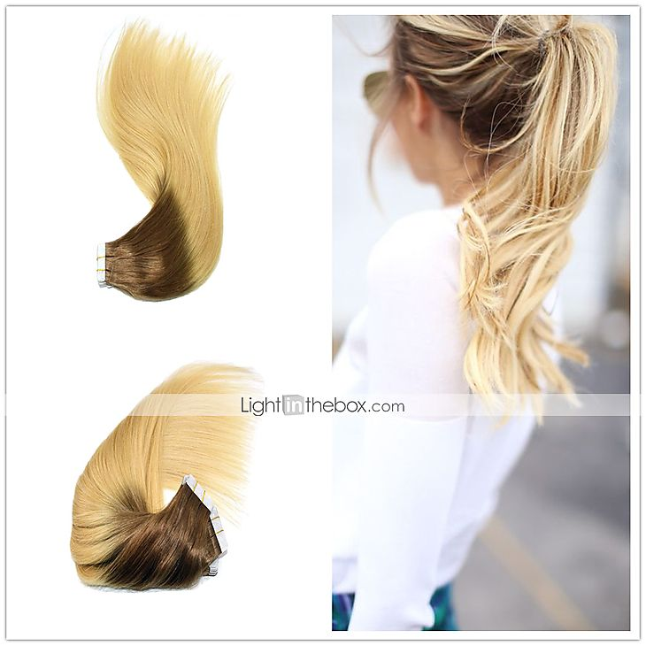 14 24 Ombre Tape In Human Hair Extensions 4613 Ombre Pu Skin Weft