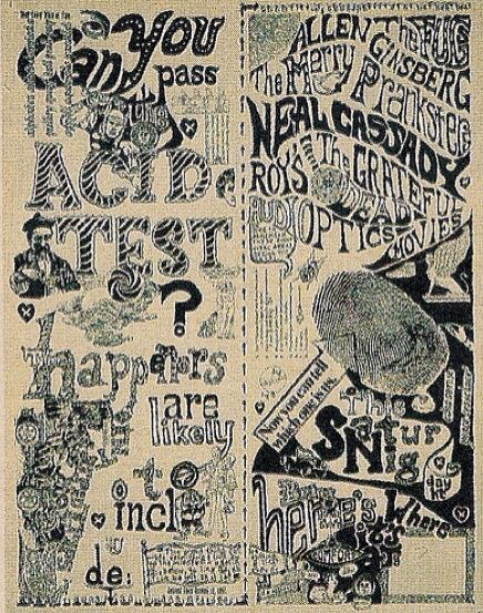 The Acid Test, with The Fugs, Allen Ginsberg, The Merry Pranksters, Neal Cassaday, and The Grateful Dead, at Muir Beach, CA, 1965. Poster by Norman Hartweg | thisaintthesummeroflove archives classic concert poster, 2011/03/10