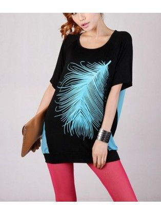 Patchwork Feather Loose Shirt