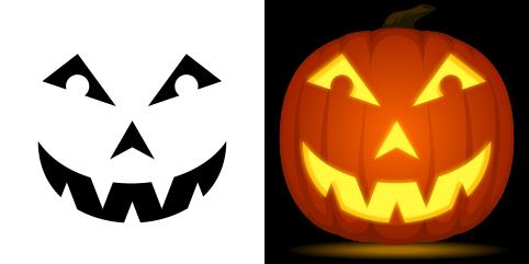 Jack-o-Lantern pumpkin carving stencil. Free PDF pattern ...