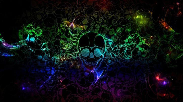 Hq Wall Base Neon Skull Wallpaper In 2019 Cool Desktop