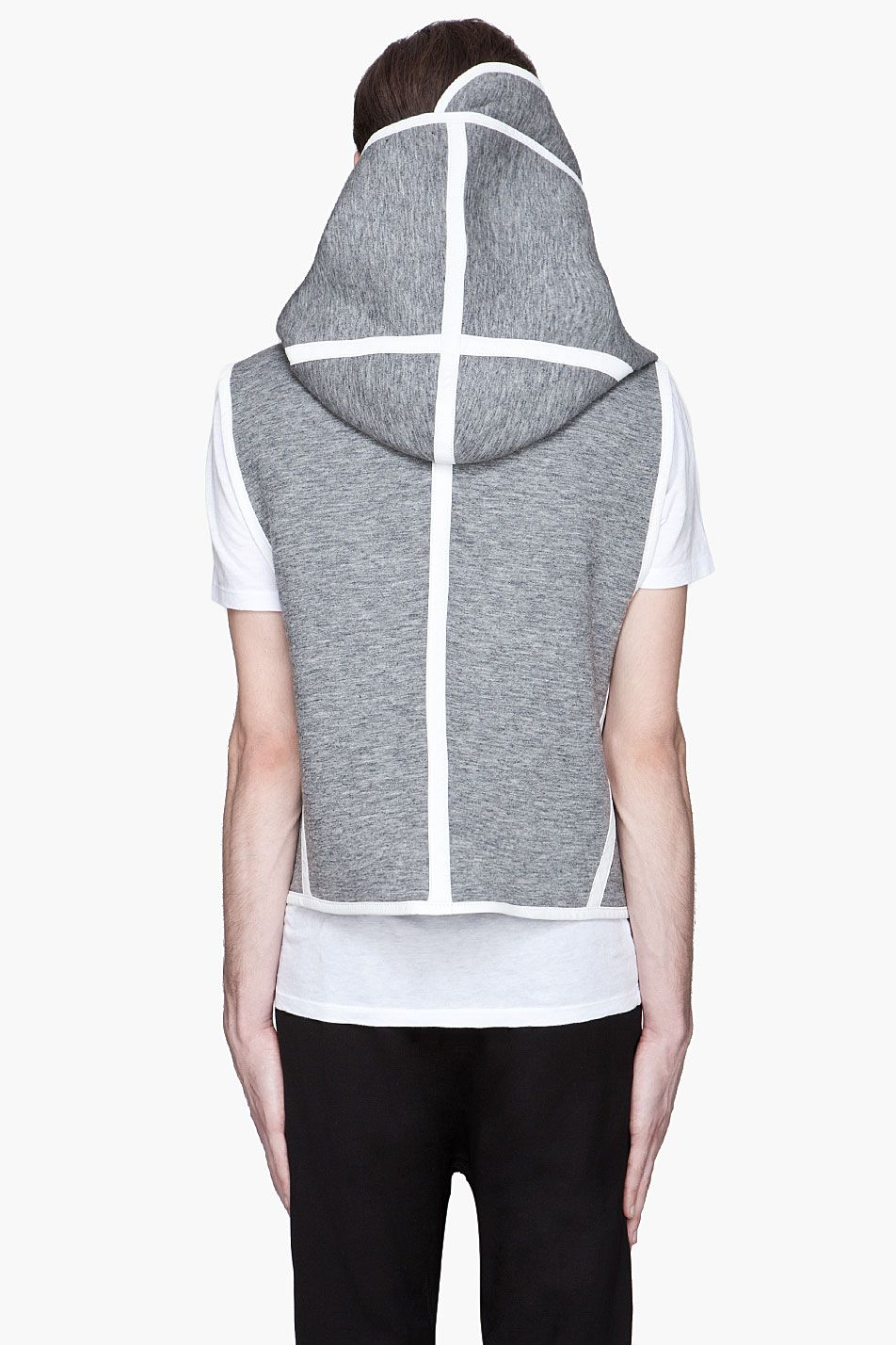 DENIS GAGNON Grey and white hooded ZipUp Vest