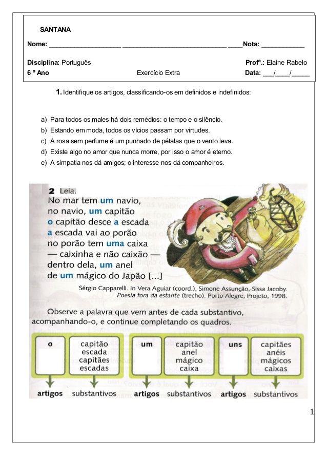1 Identifique Os Artigos Classificando Os Em Definidos E