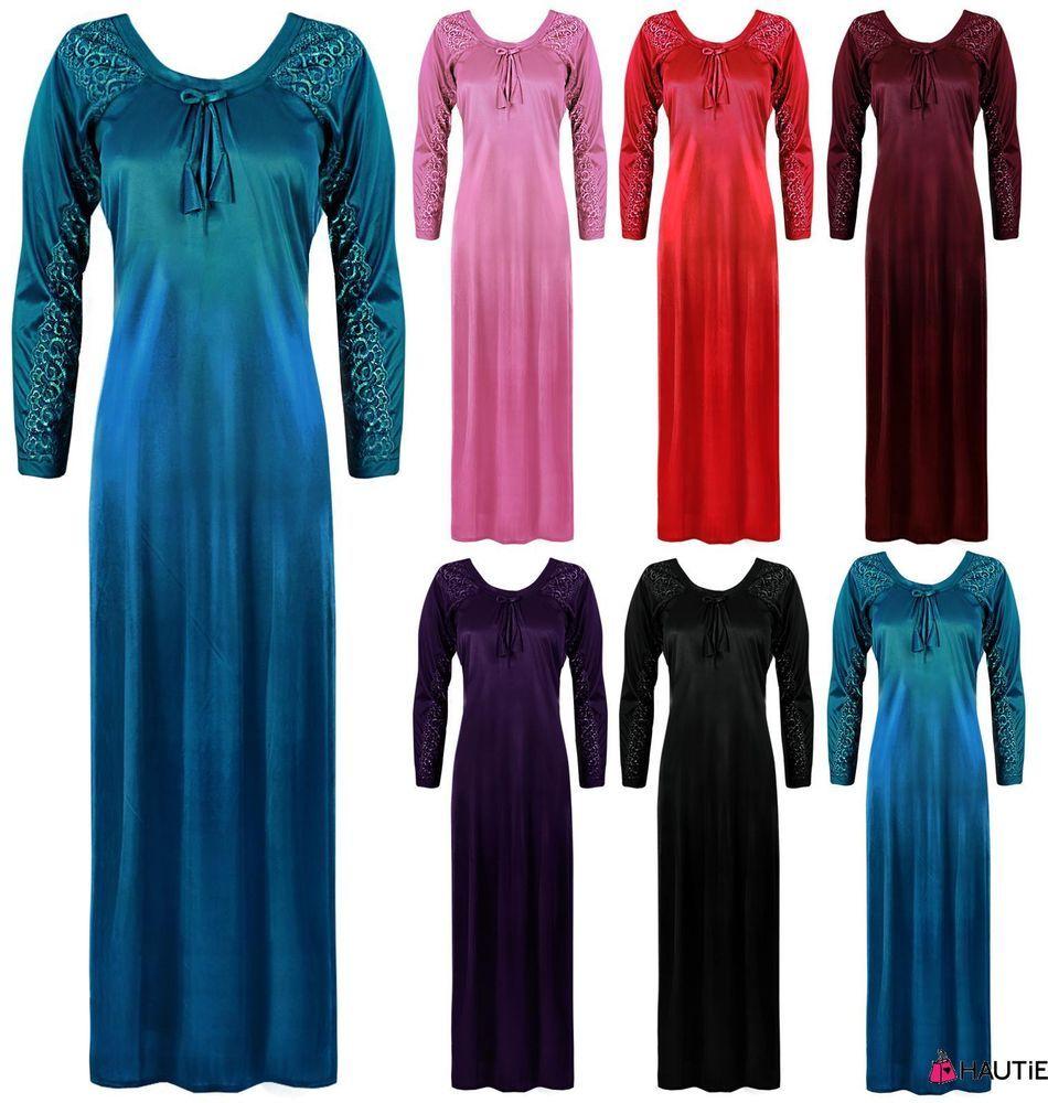 New ladies designer plus size long nightdress long sleeve nightie