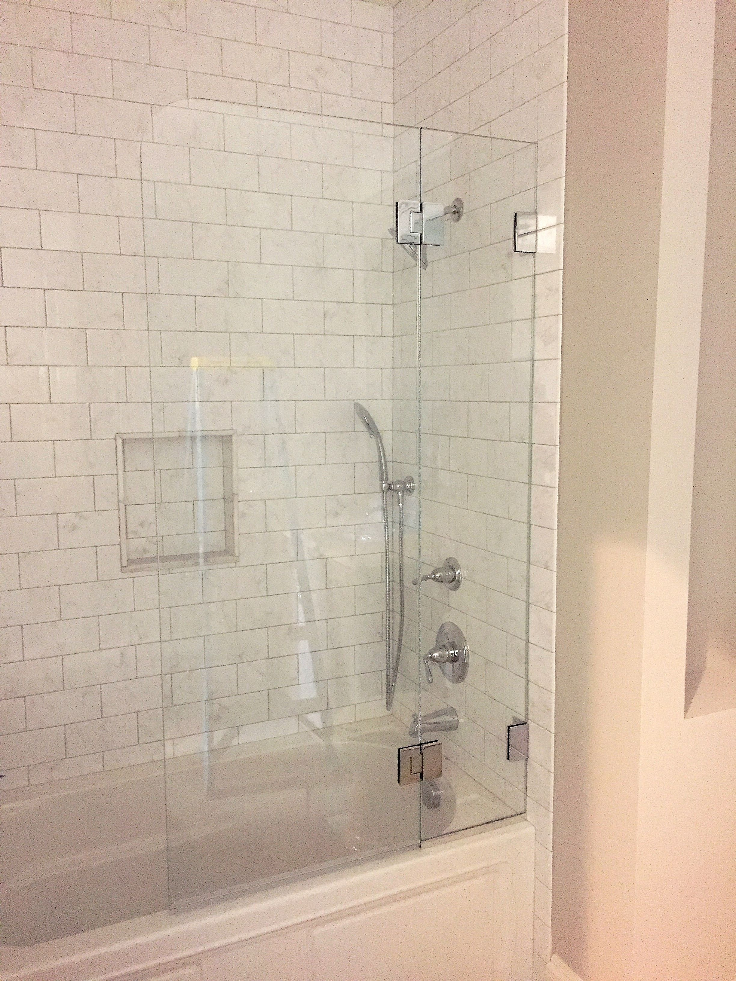 Frameless Tub Shower Enclosure Operable Splash Panel Furnished