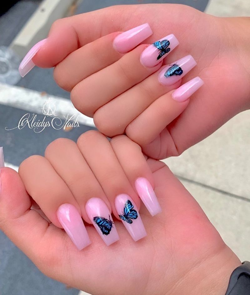 50 Pretty Butterfly Nail Art Designs You Will Love Pink Acrylic Nails Long Acrylic Nails Swag Nails