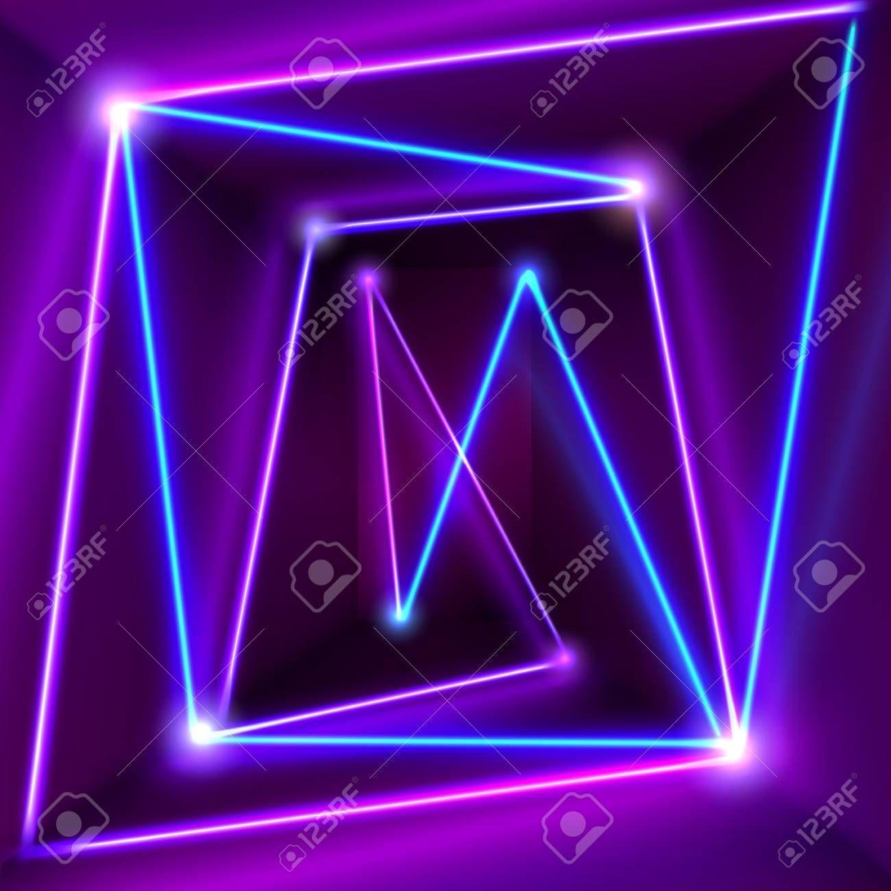 Stock Vector Blue Neon Lights Neon Lighting Purple Rooms