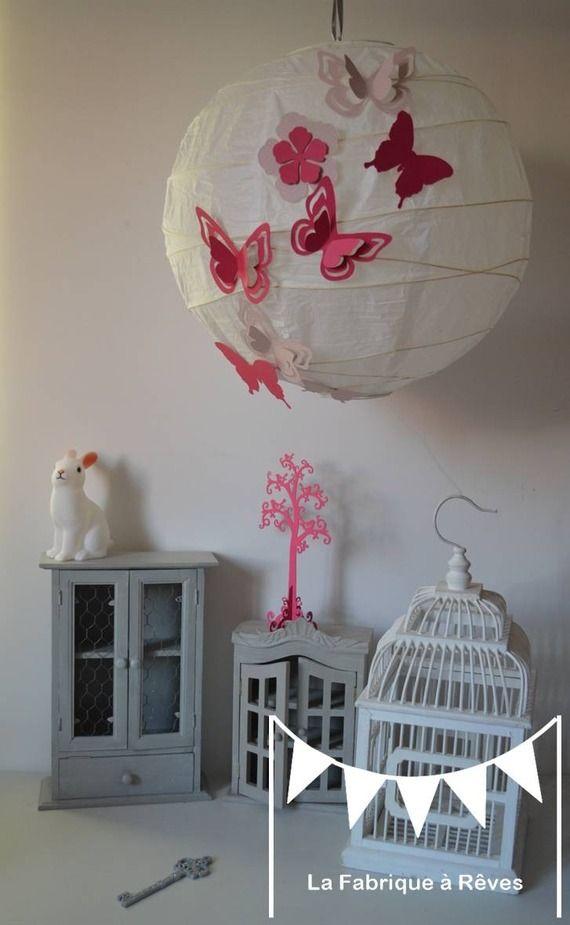 Abat jour suspension luminaire rond envol e de papillons - Abat jour chambre adulte ...