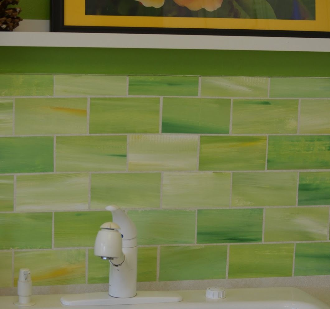 Lime Green Gl Tile Backsplash Blue