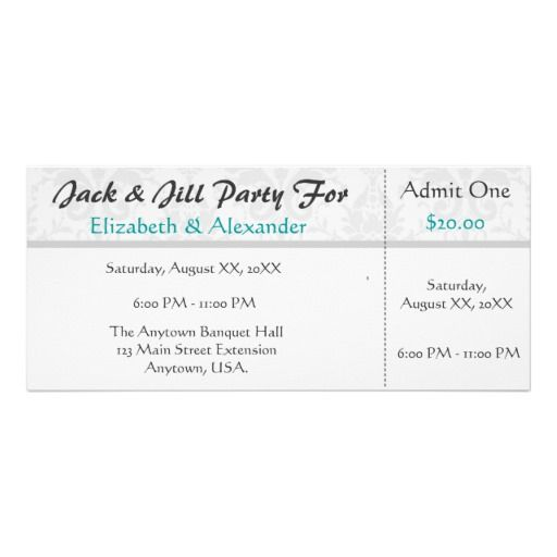 Jack And Jill Shower Ticket Style Party