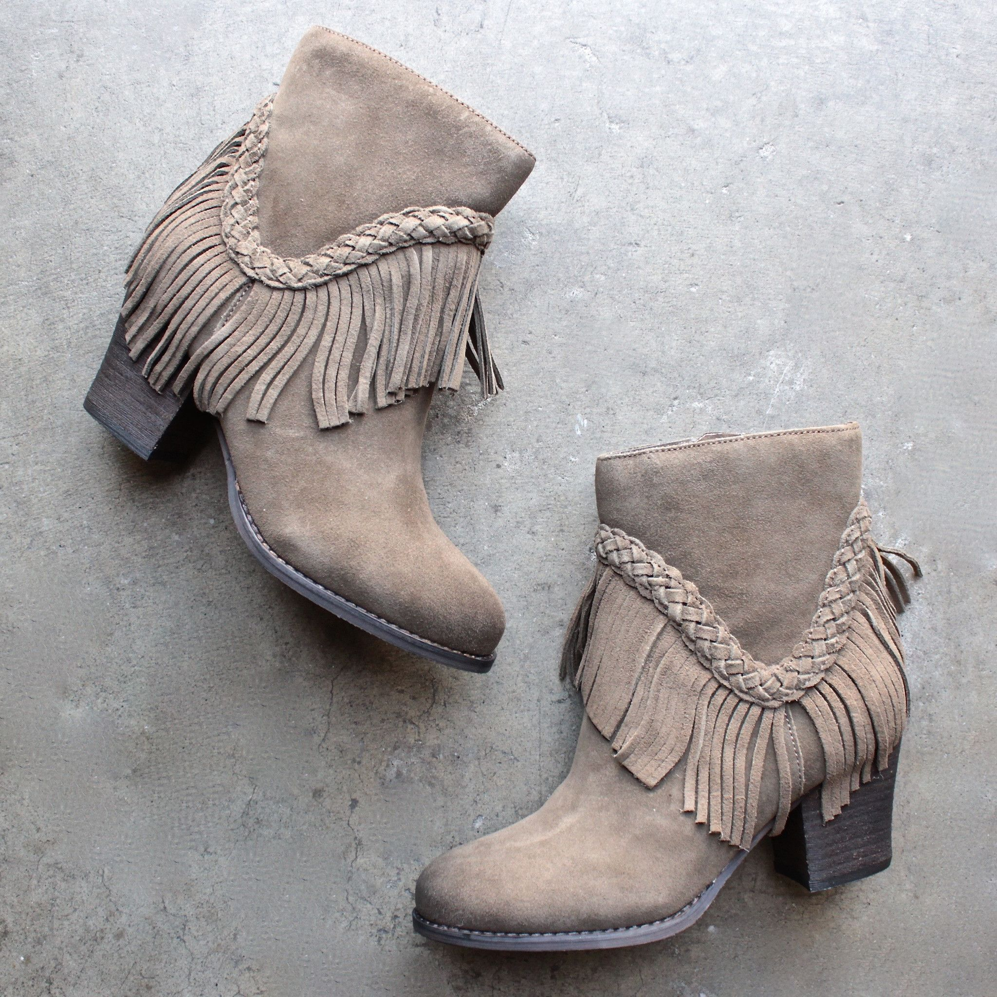 5245637ce sbicca vintage collection suede patience fringe booties | { shoes ...