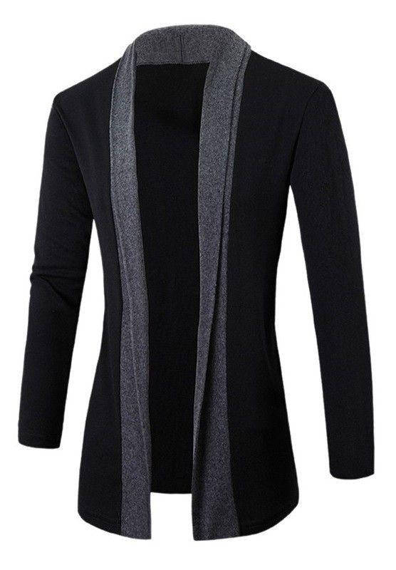 diseño de calidad e4c96 f632c Cardigan Elegante Negro Fashion sin Botones - en Gris Oscuro ...
