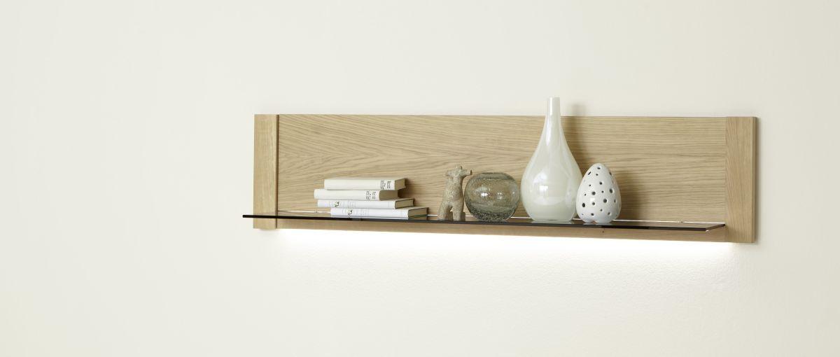 Wandboard 138 Cm Eiche Bianco Furniert Mca-Furniture Anorev Holz - wohnzimmer möbel höffner