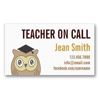 Substitute teacher business card template teacher for Teacher business cards templates free