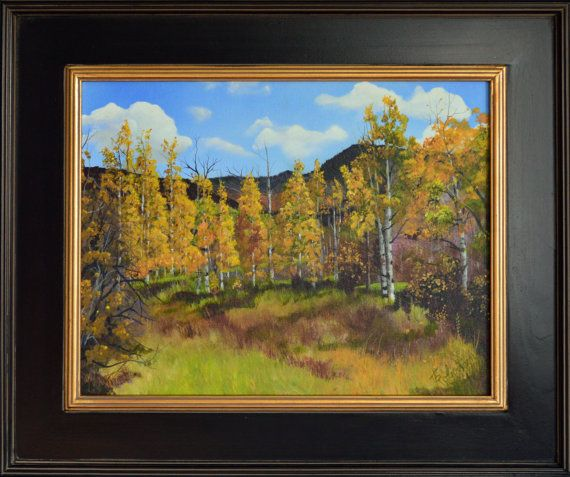 Framed landscape painting, fine art painting, original acrylic landscape painting, autumn paintings, fall aspen art, aspen, mountain, trees, blue clouds  Wilderness Ranch Fall is an original framed landscape painting of aspen trees. I painted this autumn painting in an area of Northwest Colorado, called Wilderness Ranches. This original landscape captures mountains in the background, with fall colored aspen trees in the foreground.  Wilderness Ranch Fall Acrylic on canvas 18 x 14 Framed