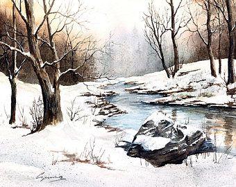 Giclee, Kunst Aquarell Druck, Walter Czuma, Strom, Winter, Schnee, Eis, Winter B…