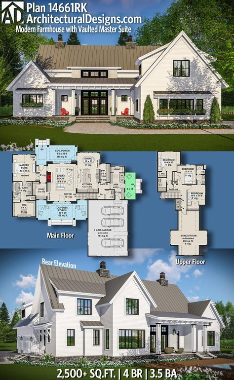 High Quality Plan 14661RK: Modern Farmhouse With Vaulted Master Suite. Architectural  Designs ...