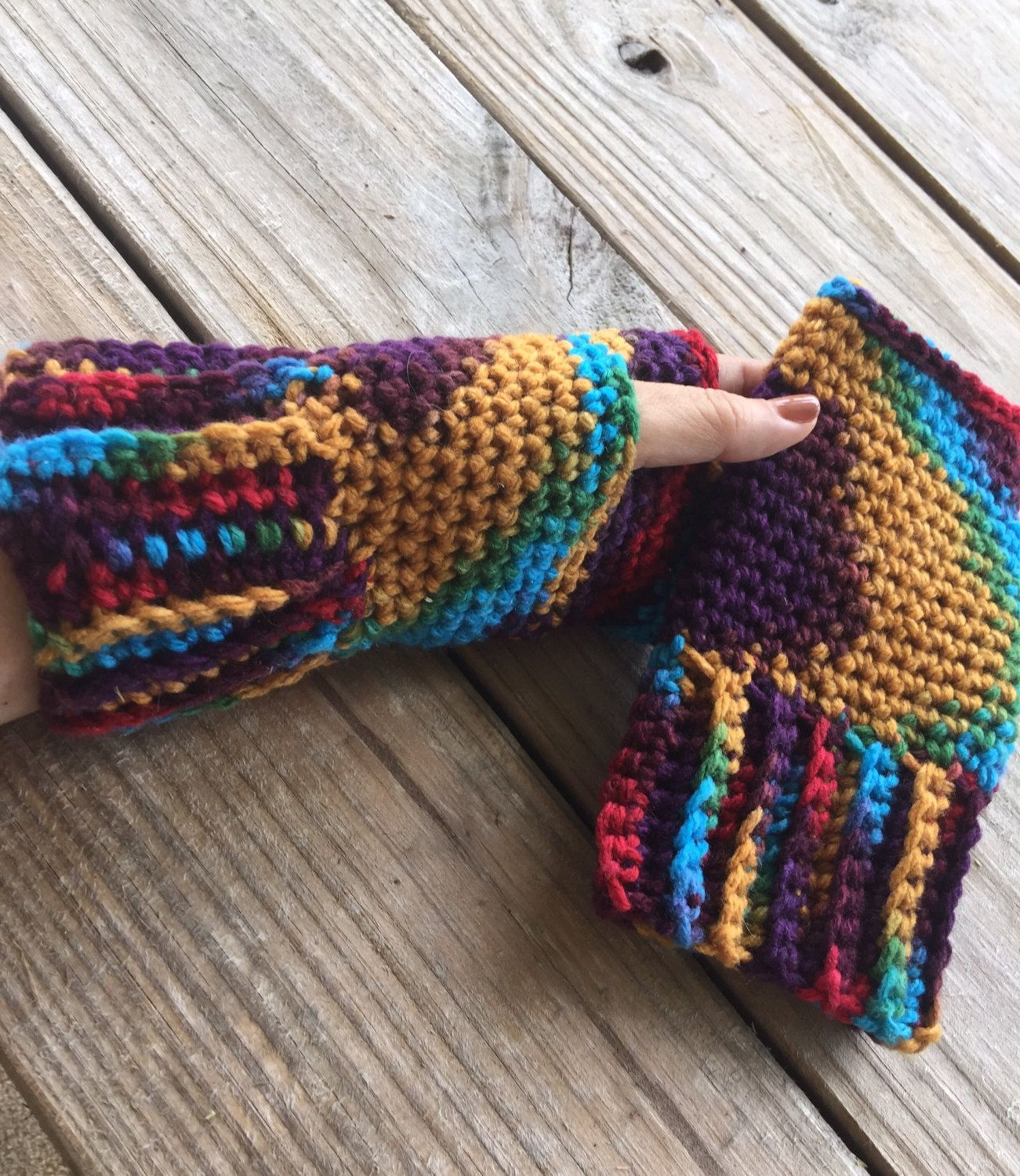 CROCHET PATTERN - Ribbed Cuff Fingerless Gloves, Texting ...